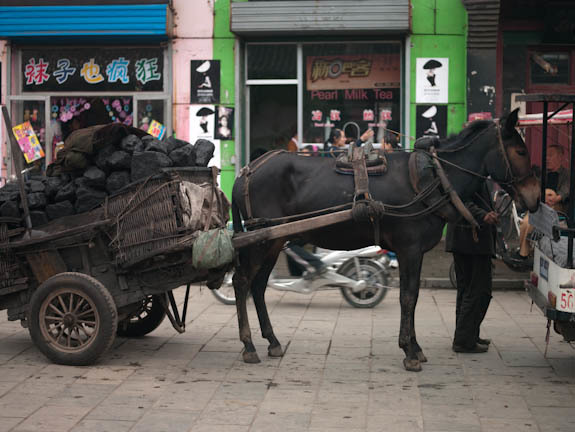 Horse drawn coal carriage to heat Pingyao - 2009
